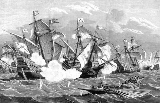 Grabado de la batalla de la Isla Tercera, o Azores, en su momento álgido.