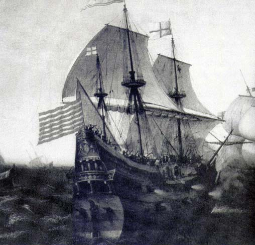 Galeón español, probablemente el San Martín, en la acción contra Inglaterra de 1588. Detalle de una pintura de Hendrik Cornelisz.