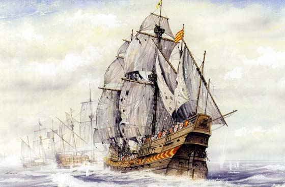 El San Mateo en la batalla de las Azores, 1582.