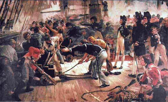 Cubierta del Victory en la batalla de Trafalgar