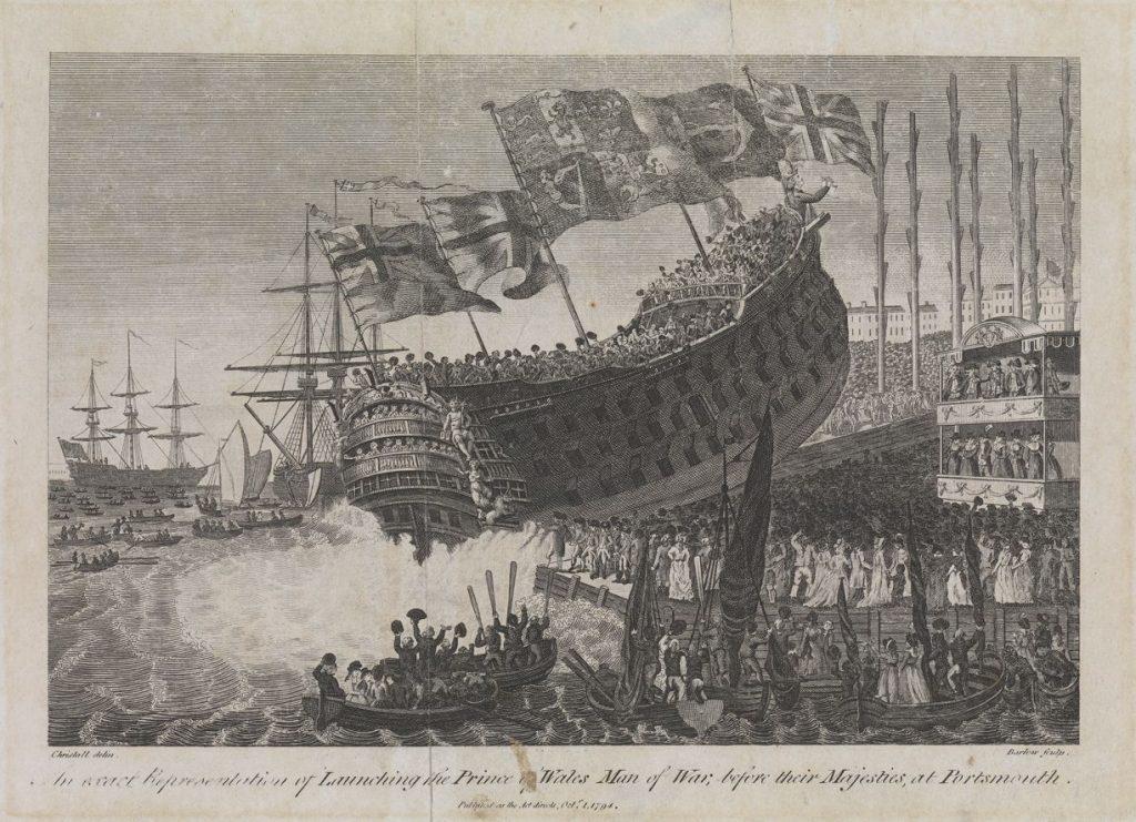 Botadura del navío HMS Prince of Wales en 1794