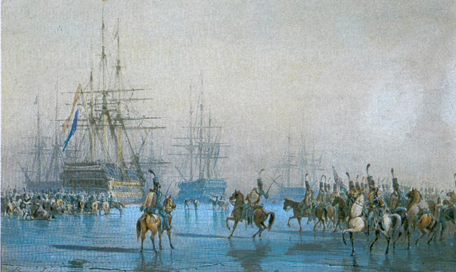 Pintura de Léon Morel-Fatio sobre la rendición de la escuadra holandesa en 1795