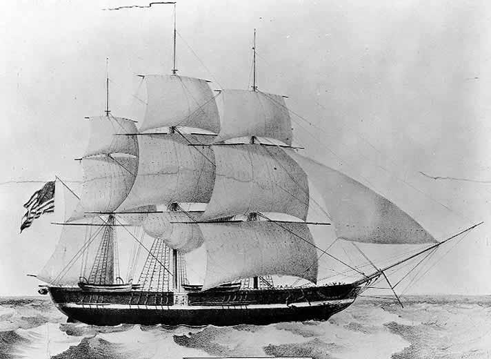 La corbeta USS Princeton en 1843