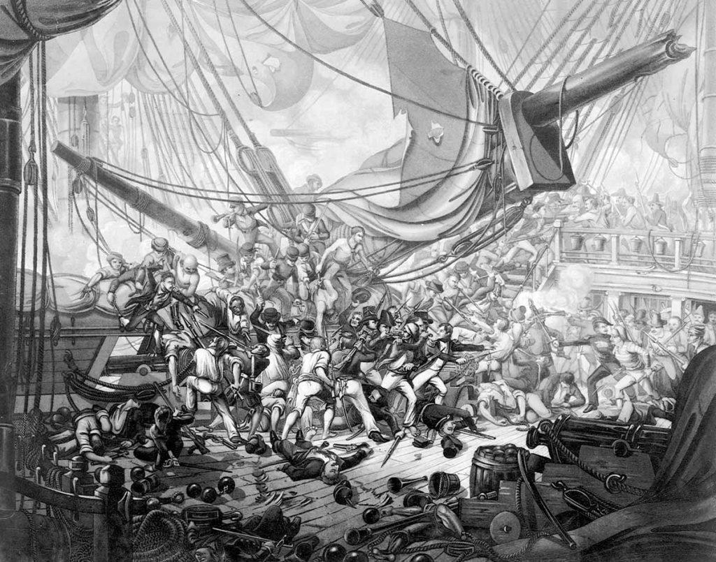 Momento del dramático abordaje de Nelson a una cubierta ya plagada de cadáveres y heridos del San Nicolás. Aún así hubo bastante resistencia por parte de los supervivientes.