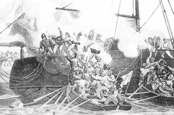 Abordaje de unos botes a un buque