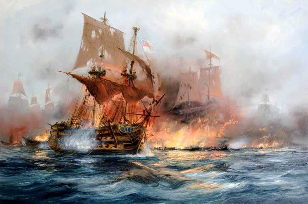 Navío Achilles en Trafalgar