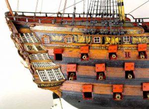 Vista de la aleta de estribor del modelo de arsenal del navío Santísima Trinidad, del Museo Naval de Madrid.
