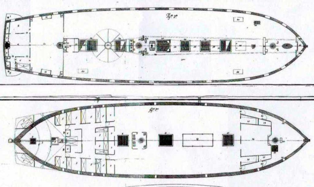 Planos interiores de la fragata Diana. Archivo General de Marina.Las fragatas de vela de la Armada española 1600-1850. Enrique García-Torralba Pérez.