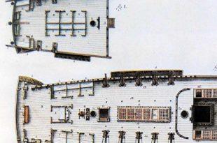Alojamientos de toldilla y batería alta de un navío de 74 cañones. Por Agustín Wauters y Horcasitas, 1806. Museo Naval de Madrid.