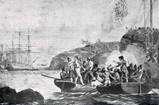 Incautación del capitán Colnett durante la crisis de Nootka, 1789. Centennial History of Oregon, de Joseph Gaston.
