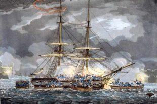 Apresamiento de un bergantín al ser abordado por botes