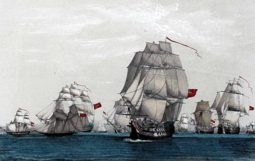 La Armada española que mandaba don Luis de Córdoba, cruzando sobre el cabo de Santa María, apresó un rico convoy de más de cincuenta velas inglesas