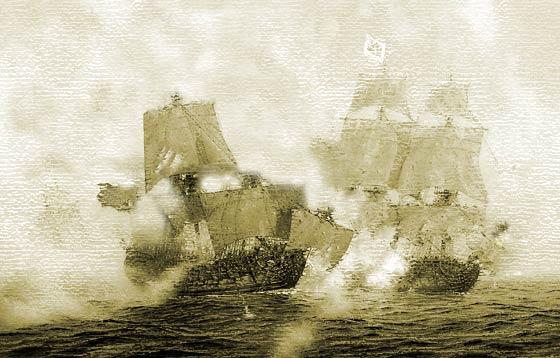 Apresamiento del navío Danzik, por parte de los navíos españoles Dragón y America