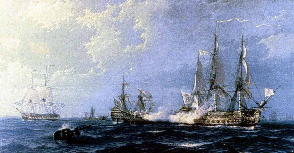 El navío español Princesa enfrentándose a los buques ingleses Oxford, Lennox y Kent