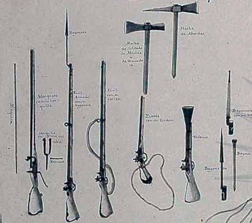 Armas de chispa de la tripulación y guarnición de un buque de la Real Armada de mediados del siglo XVIII