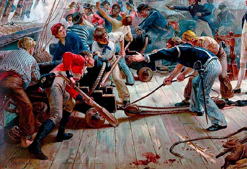 Artilleros británicos en la batalla de Trafalgar