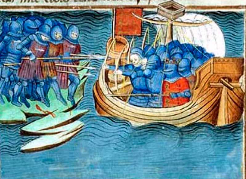 ataque a tierra desde una embarcación atestada de soldados medievales.