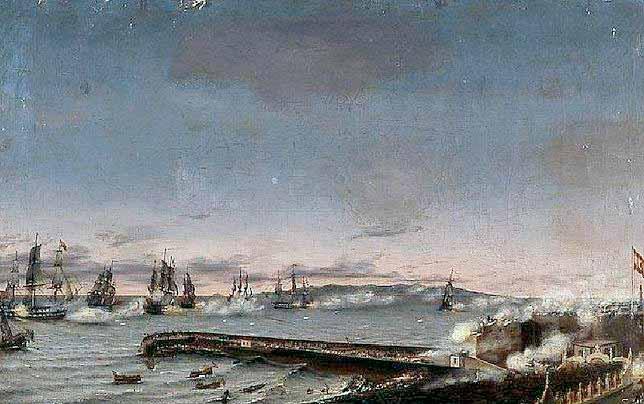 Momento del primer ataque británico a la ciudad de Tenerife.