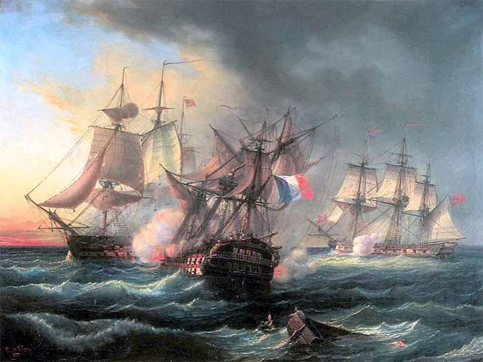 Ataque de enfilada a la proa de un navío enemigo