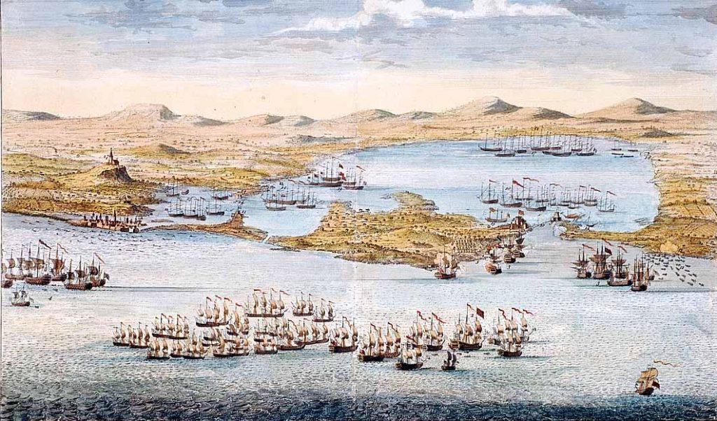 Vista de Cartagena de Indias con las diversas disposiciones de la flota británica bajo el mando del almirante Vernon