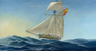 Blandra de guerra de la Real Armada. Pintura de Carlos Parrilla