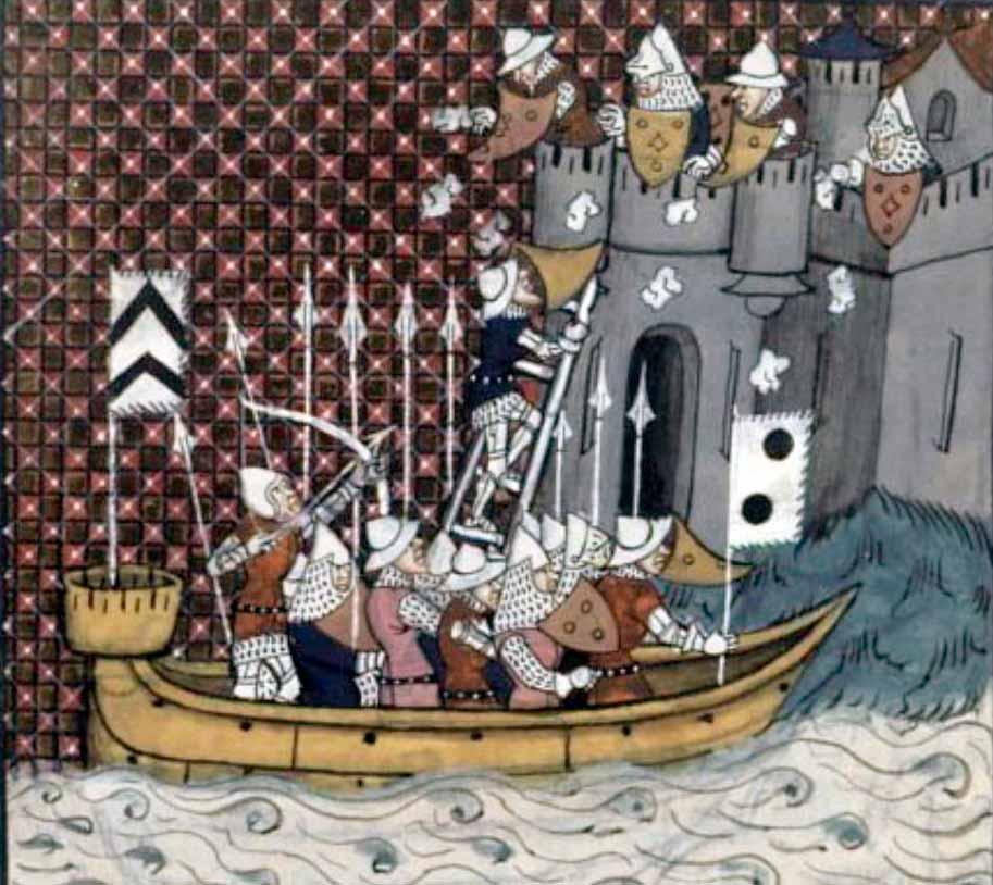 Buque medieval atacando una fortaleza en la Baja Edad Media