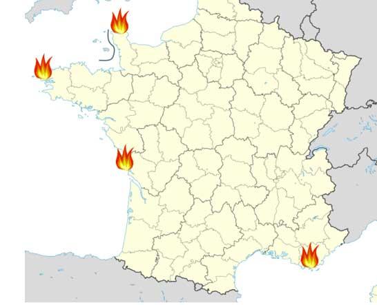 Mapa de las bases marítimas francesas