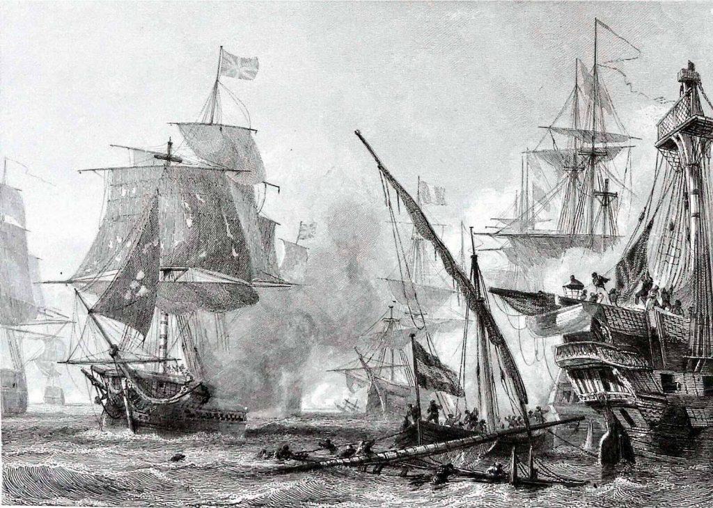 La batalla de Algeciras en pleno fragor del combate