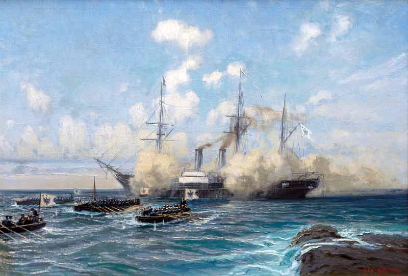 Desembarco de la tripulación del SMS Danzig en el Cabo Tres Forcas. Obra de Alex Kirchner.