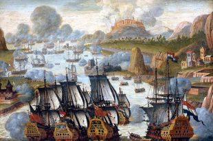 Batalla de Rande. Pintura de artista anónimo. Rijksmuseum. En esta batalla, en el bando británico, se encontró el Pembroke, después llamado Lanfranco en servicio de la Armada española.