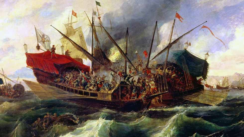 Batalla de galeras como las de Octavio de Aragón