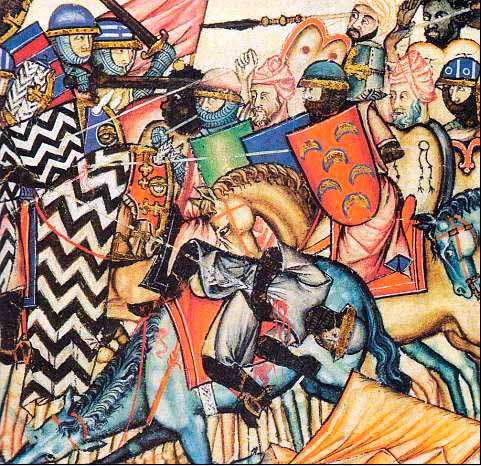 Batalla medieval en Castilla. Cantigas de Alfonso X el Sabio.