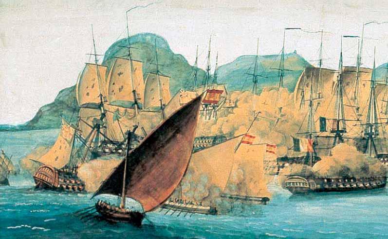 Detalle de la pintura de Antonio González Gallego sobre el combate de Algeciras