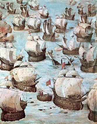 """Escena de la batalla de Isla Tercera. Monasterio de El Escorial. Esta batalla también se la llamó """"Ponta Delgada"""", """"Batalla de San Miguel"""" o """"Vila Franca do Campo""""."""