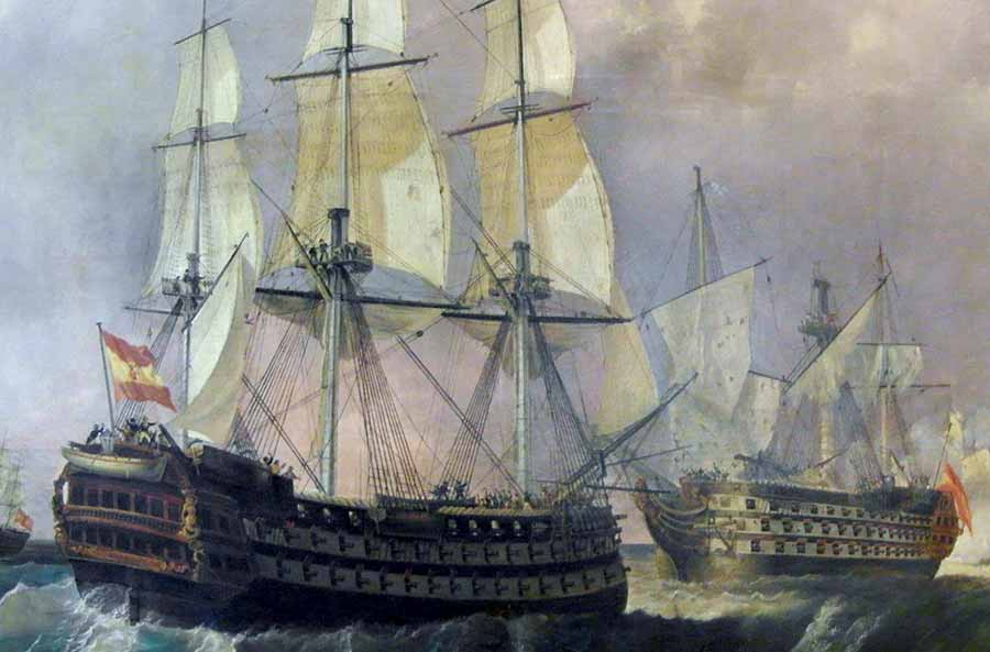 Navío Pelayo salvando al navío Santísima Trinidad en la batalla del Cabo de San Vicente, 1797