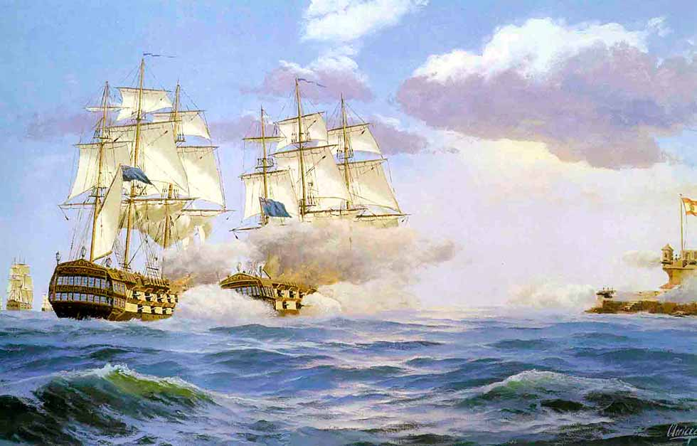 Bombardeo del castillo de San Cristóbal antes de iniciar el desembarco de los británicos