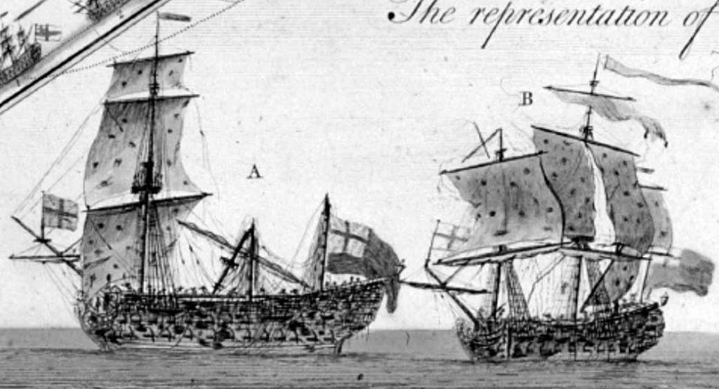 Navío Marlbourough y el Princessa tras la batalla de Tolón de 1744