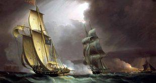 Un bergantín persiguiendo a un buque corsario