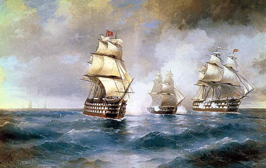El bergantín Mercurio atacado por dos buques turcos. Pintura de Ivan Aivazovsky.  Galería Nacional de Arte Aivazovski de Feodosia.