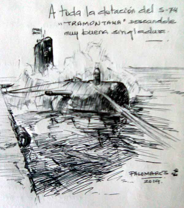 Dibujo en blanco y negro del submarino Tramontana S-74, de Ildefonso Palomares