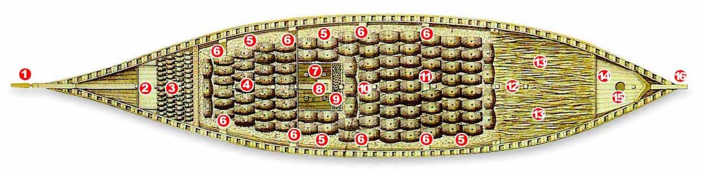 Segunda sección horizontal de la bodega, que manifiesta la colocación de la aguada y primeras andanas de toneles