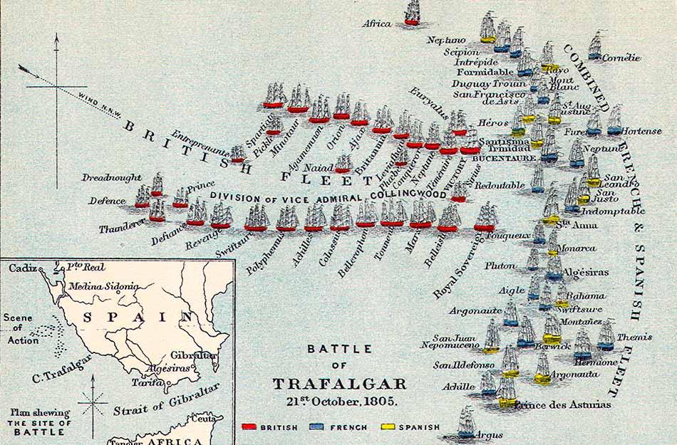 Comienzo de la batalla de Trafalgar
