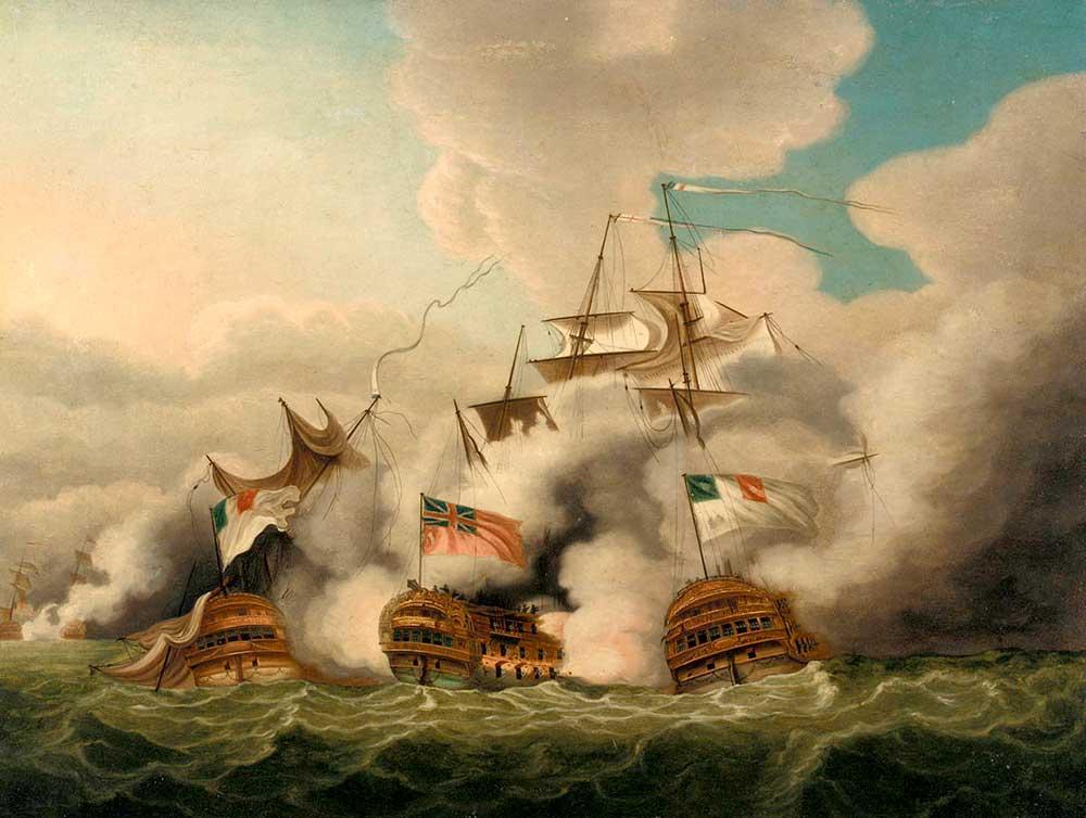 Navío Brunswick contra el Vengeur du Peuple y el Achille