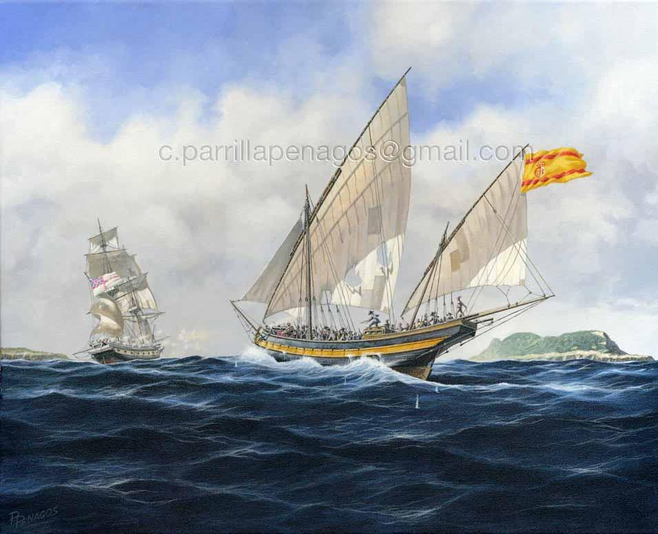 Buque corsario español acosando a un bergantín de guerra británico