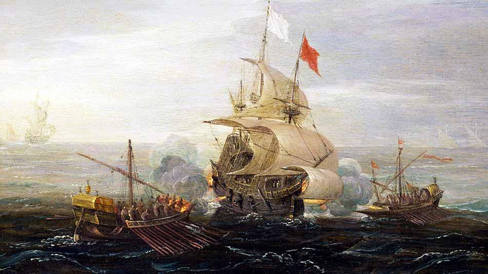 Buque francés en combate contra galeras