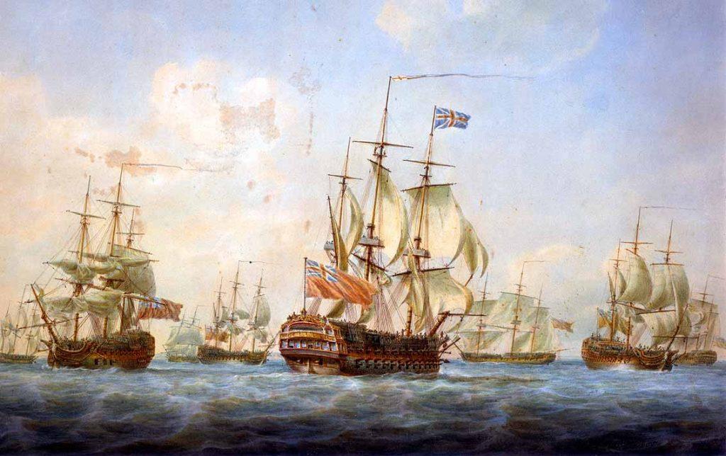 Buques en Spithead en 1797. Con el HMS Sceptre, HMS King George, Hudson's Bay Company Rodney, y los East Indiaman Ganges, Perseverence y General Goddard. Pintura de Nicholas Pocock.