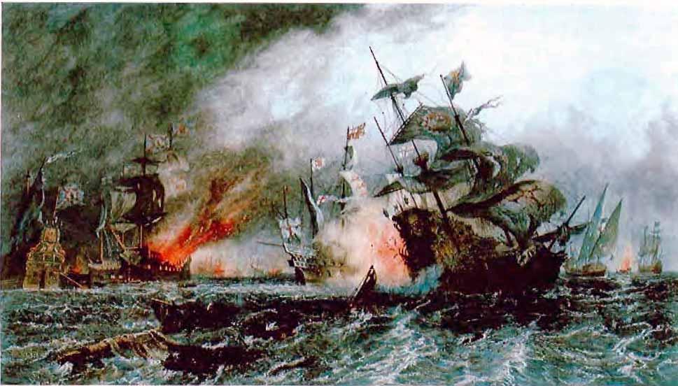 El navío Renvenge, insignia de Drake, en Gravelinas (8 de agosto de 1588).