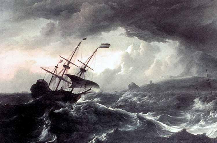 Buque en una tormenta. Situación similar a lo que pasó con el HMS Felix
