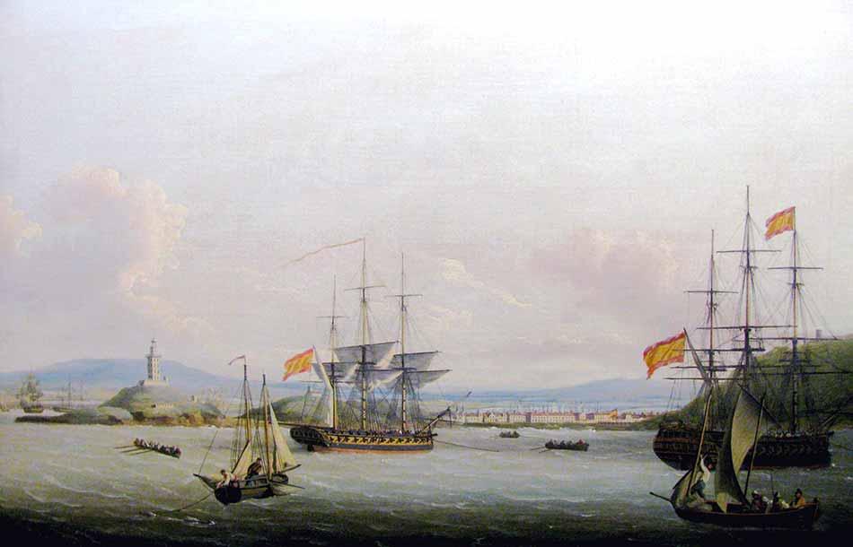 Buques de guerra españoles frente al puerto de Mahón. Pintura de John Thomas Serres