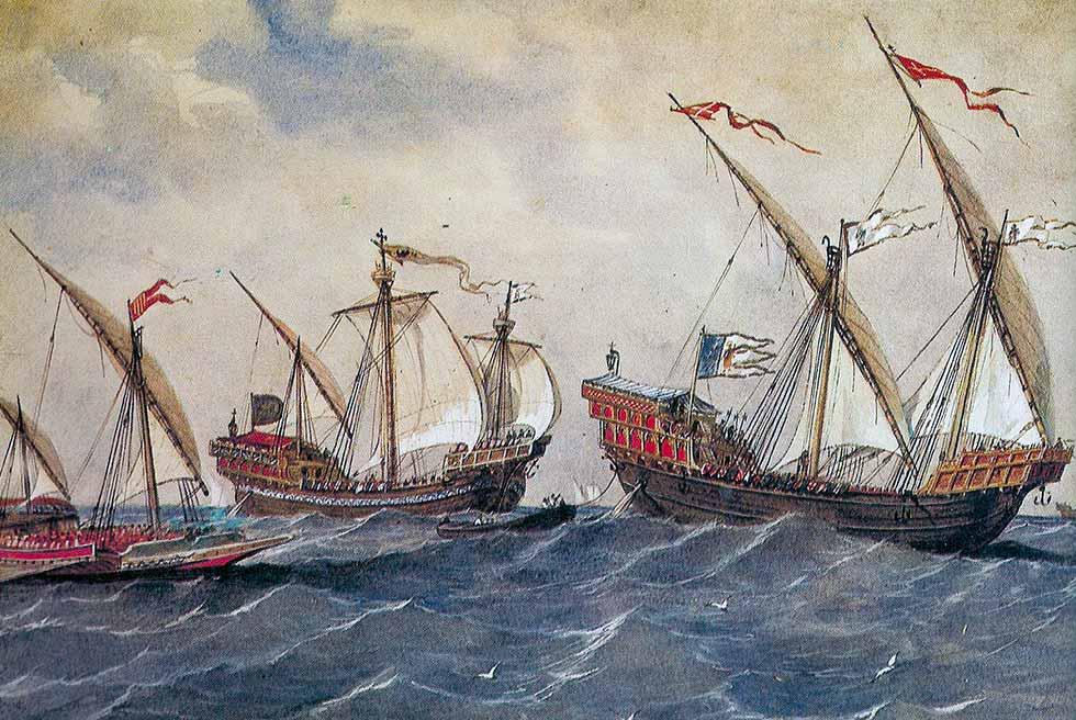 Diferentes tipos de buques del siglo XIII. De Rafael Monleón. Museo Naval de Madrid.